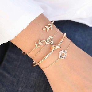 Jewelry - BOHO golden Bracelet Set leaf diamond